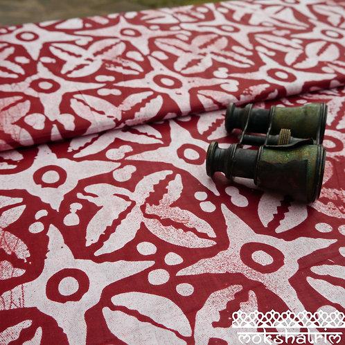 Terracotta Star Printed batik tribal african wax ankara mokshatrim ethnic fabric cotton