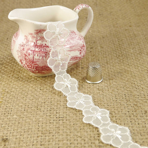 Ivory Flower Embroidered Tulle Lace M391
