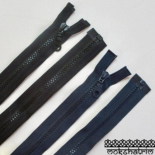 """18"""" (c. 46cm) Black and 24""""(c. 61 cm)Dark Greyopen end chunky plastic heavy duty nylon zipper jackets Mokshatrim"""