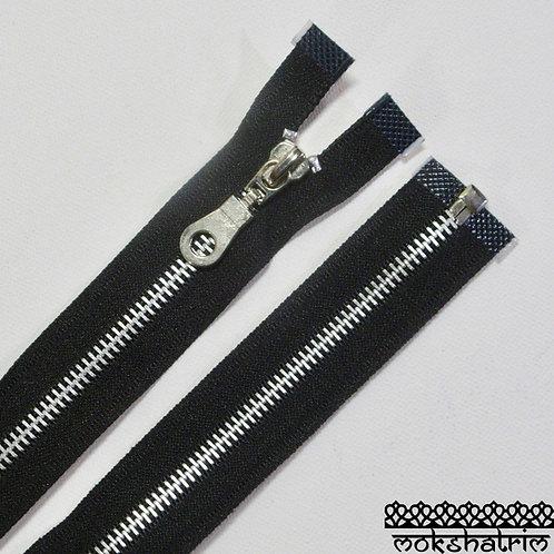 "20"" (c. 51cm), 22"" (c. 56cm)Black heavy duty silver metal zipper open ended jackets Mokshatrim Haberdashery"