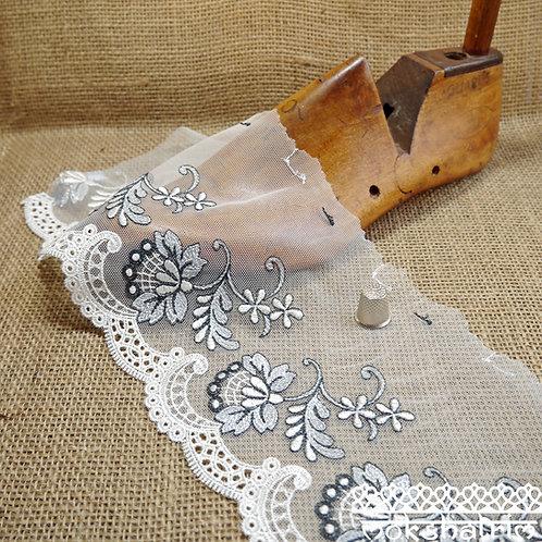 Ivory Silver Grey Floral Embroidered Tulle Lace reclining flower in white silver grey Wedding Bridal Mokshatrim Haberdashery