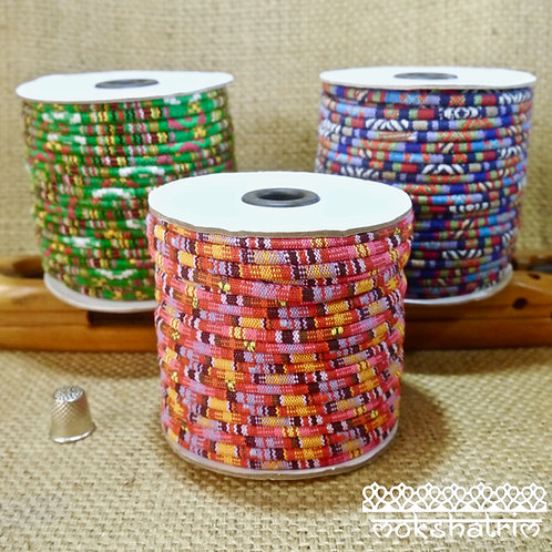 Tibetan Ethnic Round Fabric Cord 6, 4mm MA610