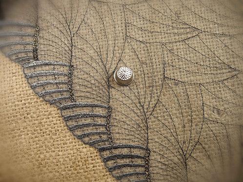 Wide Grey Gold Lurex Tulle fan design scalloped edge gold thread art deco disco