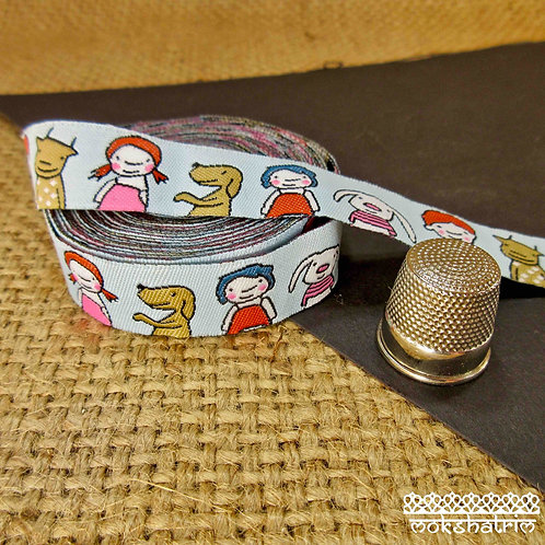 Art jacquard ribbon cartoon children kid animal characters pale blue dog collar Mokshatrim Haberdashery