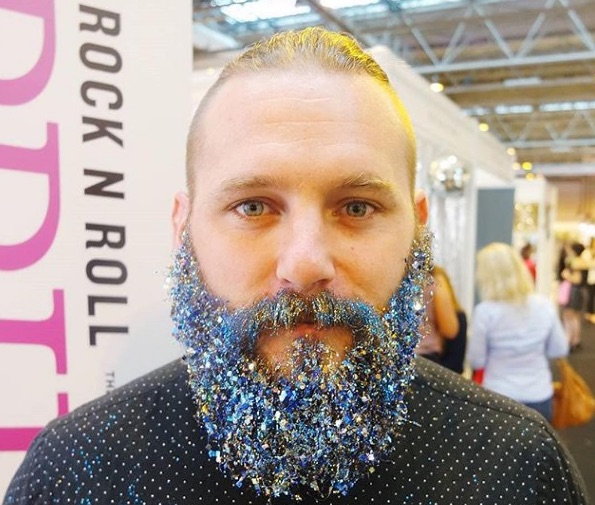 It takes a real man to pull off a glittery beard eh - Mr Crown and Glory