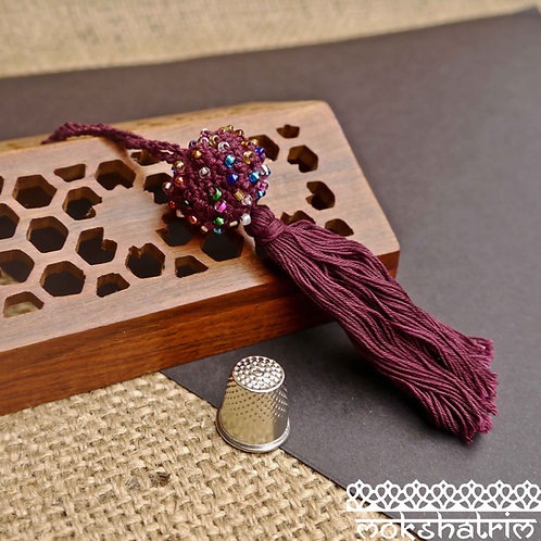 Purple ball tassle tassel soft purple cotton thread knotted ball is woven coloured seed beads ethnic vintage Home cushion