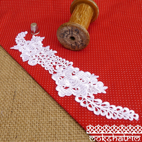 Large Ivory lace guipure applique patch rose flowers floral leaves sheen finish neckline bridal wedding Haberdashery