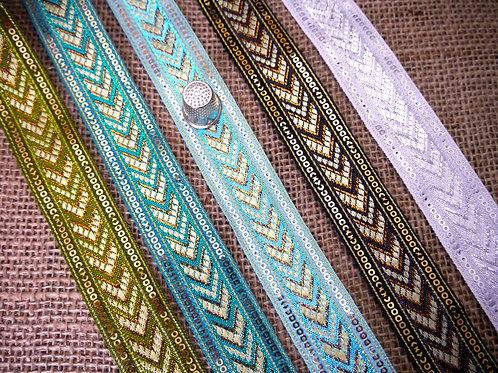 Decorative Indian Asian Jacquard ribbon geometric chevron pattern metallic gold Mokshatrim Ethnic Haberdashery