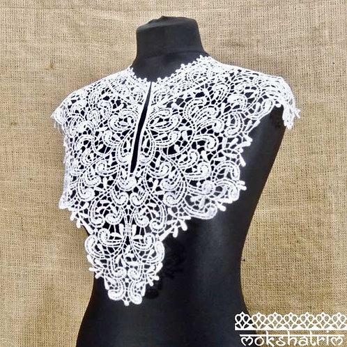 Large WhiteLace Guipure Abstract Neckline Collar with Slit Applique for Top, Tunic, Kaftan Mokshatrim Haberdashery Retro