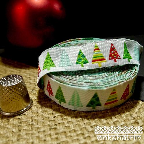 Designer jacquard art ribbon Xmas Christmas tree white green red blue dog collars Mokshatrim Haberdashery