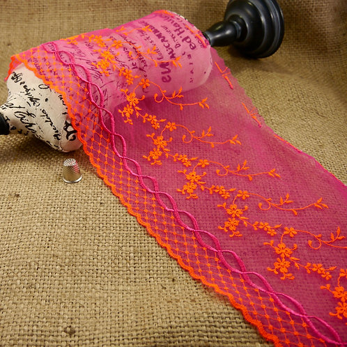 semi sheer stretch cerise pink embroidered tulle cascading flowers neon orange magenta pink