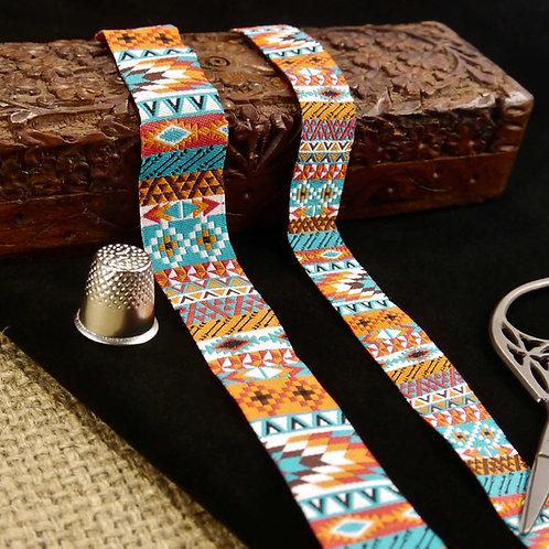 Geometric Tribal Aztec designer art jacquard ribbon bright colours red orange teal white and brown Mokshatrim Haberdashery