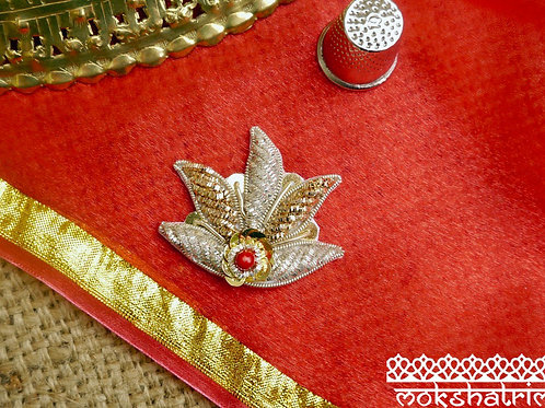 Indian Asian Silver Goldwork Beaded floral motif appliques gold silver coilwork gold sequins red bead sparkle ethnic