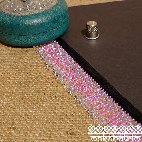 Beaded trim fringe seed beads stripes purple irridescent beads beads coloured core cerise pink transparent irridescent beads