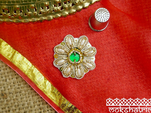 Indian Asian zardozi ethnic floral flower appliques gold silver coilwork white pearl-like beads gold sequins Mokshatrim