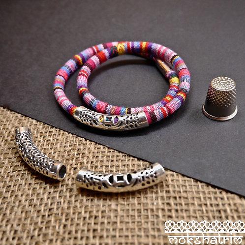 6mm hole silver coloured metal pipe tube slider charm bead cord jewellery mokshatrim haberdashery