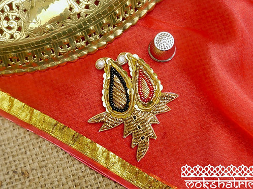 Large ethnic applique motif subtle sparkle two paisleys gold coilwork zardozi beaded pearl Mokshatrim Haberdashery