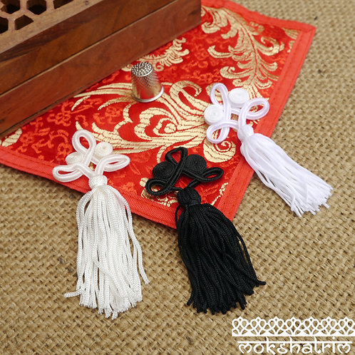 Chinese oriental small white cream black knot tassels tassles trim applique haberdashery mokshatrim