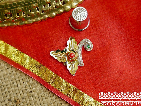 Asian Indian goldwork appliques ethnic motif silver gold coilwork red greenbeading sequins Mokshatrim Haberdashery