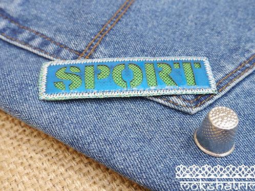 Iron on blue sport fashion patch applique trim mokshatrim haberdashery
