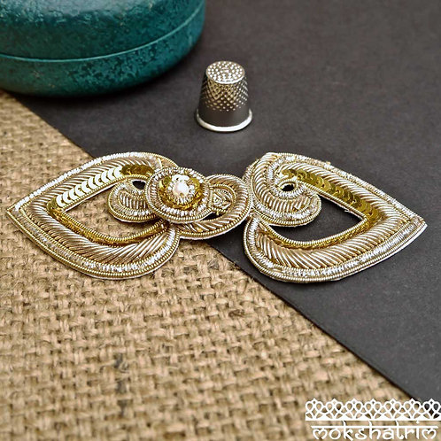 Indian Asian Gold Goldwork Coilwork Applique Frog Fastening Mokshatrim Haberdashery