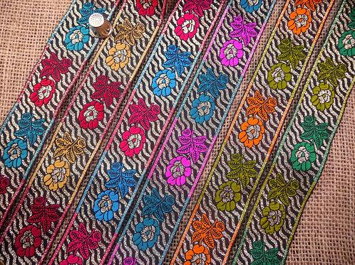 Decorative Indian Asian Jacquard Ribbon roses floral zig zag zebra coloured black silver metallic Mokshatrim Haberdashery