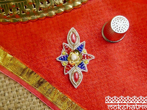 Indian Asian applique sparkle geometric gold silver coilwork pink yellow red blue beading Mokshatrim Haberdashery