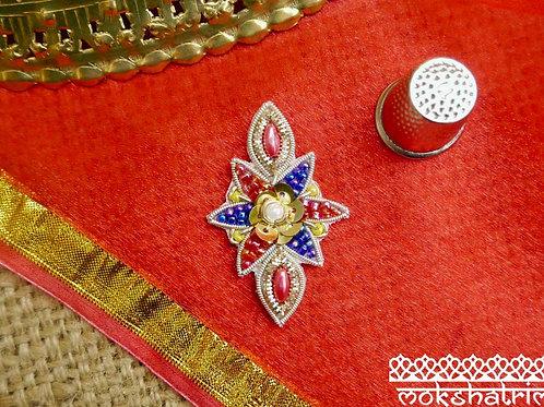 Indian Asian applique sparklegeometric gold silver coilwork pink yellow red blue beading Mokshatrim Haberdashery