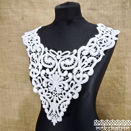 Large White Thick V-shaped Lace Guipure Neckline Collar Applique abstract design scooped high neck boho style Mokshatrim