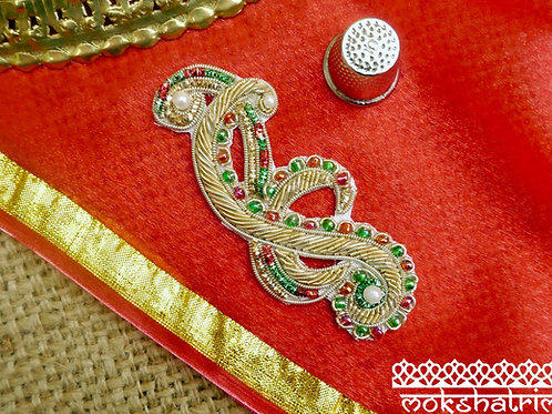 Indian Asian Silver Goldwork Beaded ethnic motif appliques gold, silver, red green coilwork swirl design beaded Mokshatrim