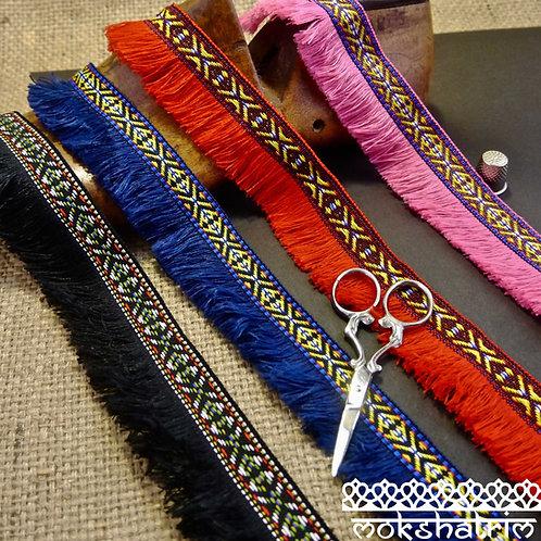 Black Red Blue Pink Scandi tribal jacquard trim with thread fringe Mokshatrim Haberdashery