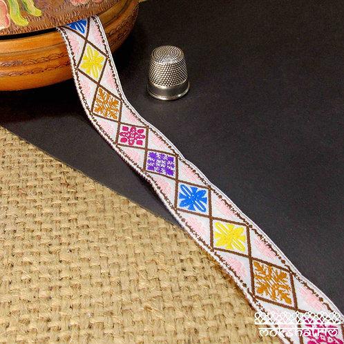 Chinese Jacquard ribbon geometric diamond  multicoloured motifs brown pink turquoise blue yellow Mokshatrim Ethnic haberdash