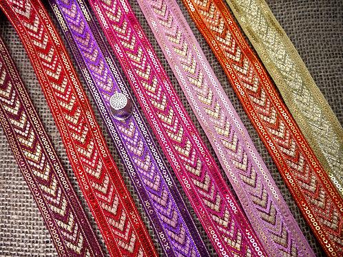 Decorative Indian Asian Jacquard ribbon geometric chevron pattern metallic gold Mokshatrim Ethnic Haberdashery