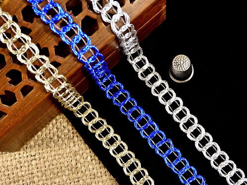 Silver/Gold/Blue Metallic Chain Braid MA607