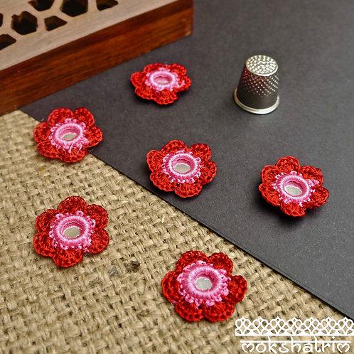 Red Pink Flower Mirror Crochet Shisha Applique Shisha, Shisheh embroiderymirror-work ethnic Mokshatrim Haberdashery