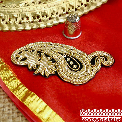 Indian Asian ethnic paisley appliques smooth coilwork sparkle upcycling motif Mokshatrim Haberdashery