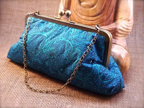 Turquoise Leaf Design Sari Diamante Clutch P6