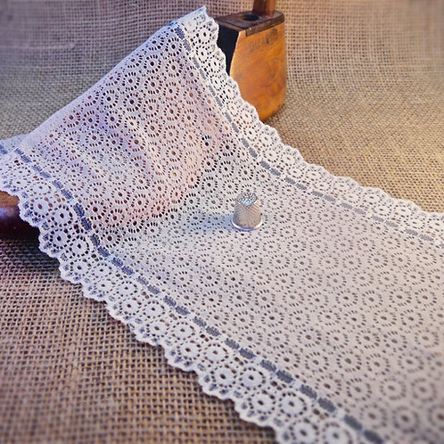 Wide Cream and Blue Fine Lace Galloon M321