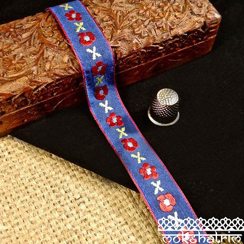 Embroidered satin jacquard ribbon red flower pale green cross royal blue satin background Mokshatrim haberdashery