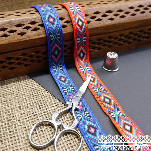red blue tribal geometric jacquard ribbon trim haberdashery Mokshatrim