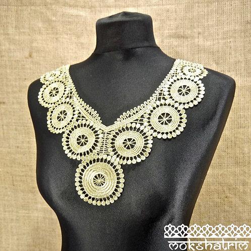 Gold Lace Bodice Neckline Circles Collar for Top, Tunic, Kaftan Mokshatrim Haberdashery Ethnic Exotic