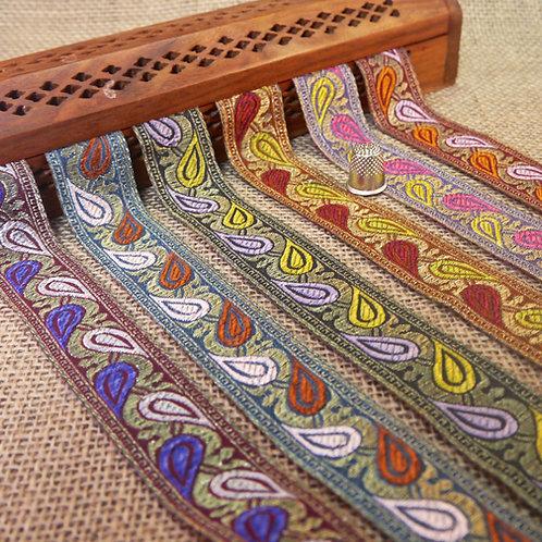 Decorative Indian Jacquard Paisley Ribbon Trim Ethnic Mokshatrim Haberdashery