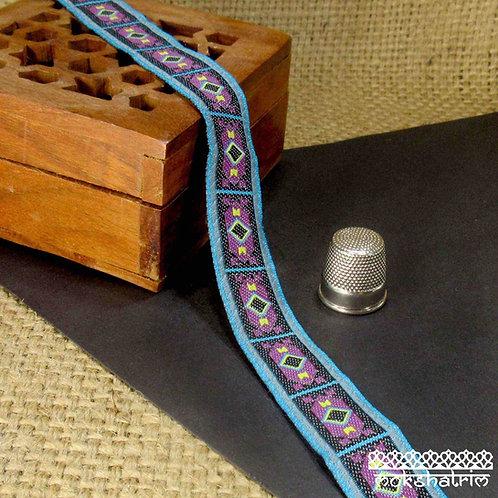 Jacquard ribbon geometric design black turquoise blue grey purple yellow dog collar Mokshatrim exotic ethnic haberdashery