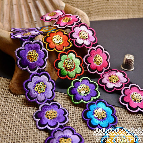 chinese floral sequin iron on trim flowers floral multicoloured pink purple Mokshatrim Haberdashery