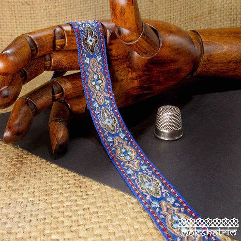 Chinese jacquard ribbonbaroque motif bronze brown pale blue leaf green mid blue dog collar Mokshatrim exotic ethnic
