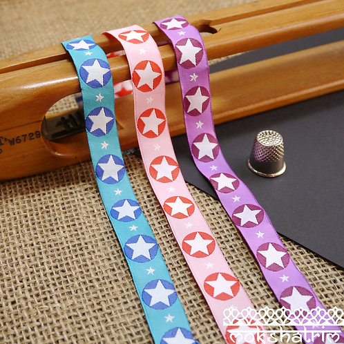 16mm blue pink purple Geometric designer art jacquard ribbon with star and circle design in contrasting tones