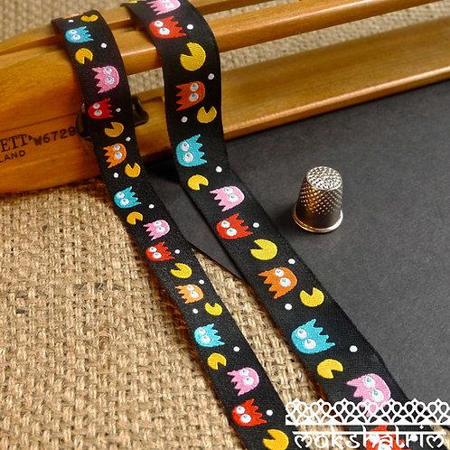 Art Cartoon PacMan 80s Retro Jacquard Ribbon Dog collar Mokshatrim Haberdashery
