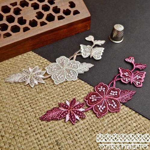 Left Right directional embroidered Iron-on Appliqueflowers floral leaves butterfly glitter metallic Mokshatrim Haberdashery