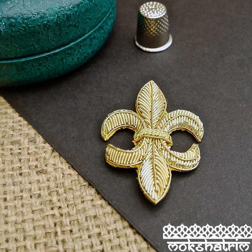 Goldwork fleur-de-lys fleur-de-lis appliques gold coilwork sparkle heraldry costumes Mokshatrim Haberdashery
