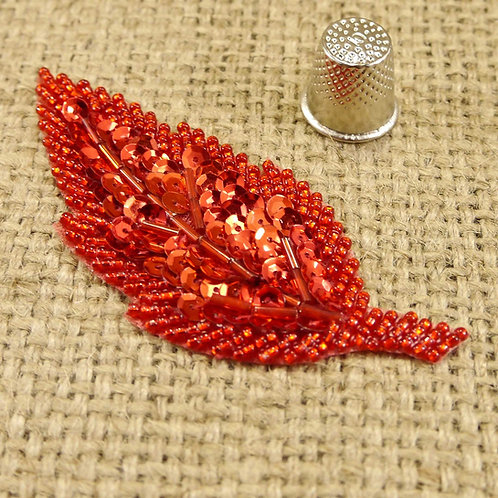 Red Leaf Shiny Sequin Applique MA703